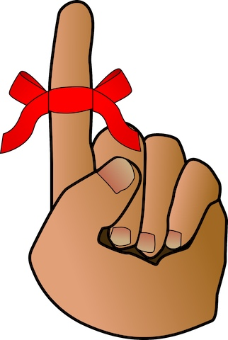 Illustrated left human hand with only the index finger extended, with a red ribbon tied in a bow.