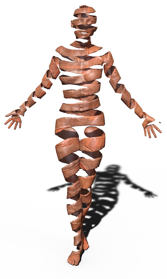 Silhouette of a human body standing upright with arms extended.