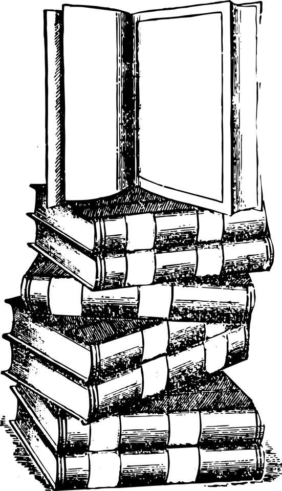 A black-and-white sketch of a stack of books, with the one on the top sitting upright, open; showing blank pages.