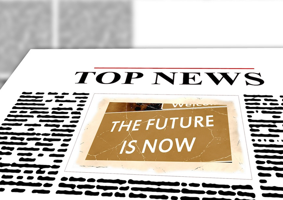 "Illustration of the the front page of a newspaper with ""Top News"" as a header and ""The Future Is Now"" as a cover story."