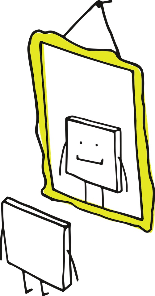 Illustration of an animated, white square (with eyes and a mouth) looking at itself in a yellow-framed mirror and smiling.