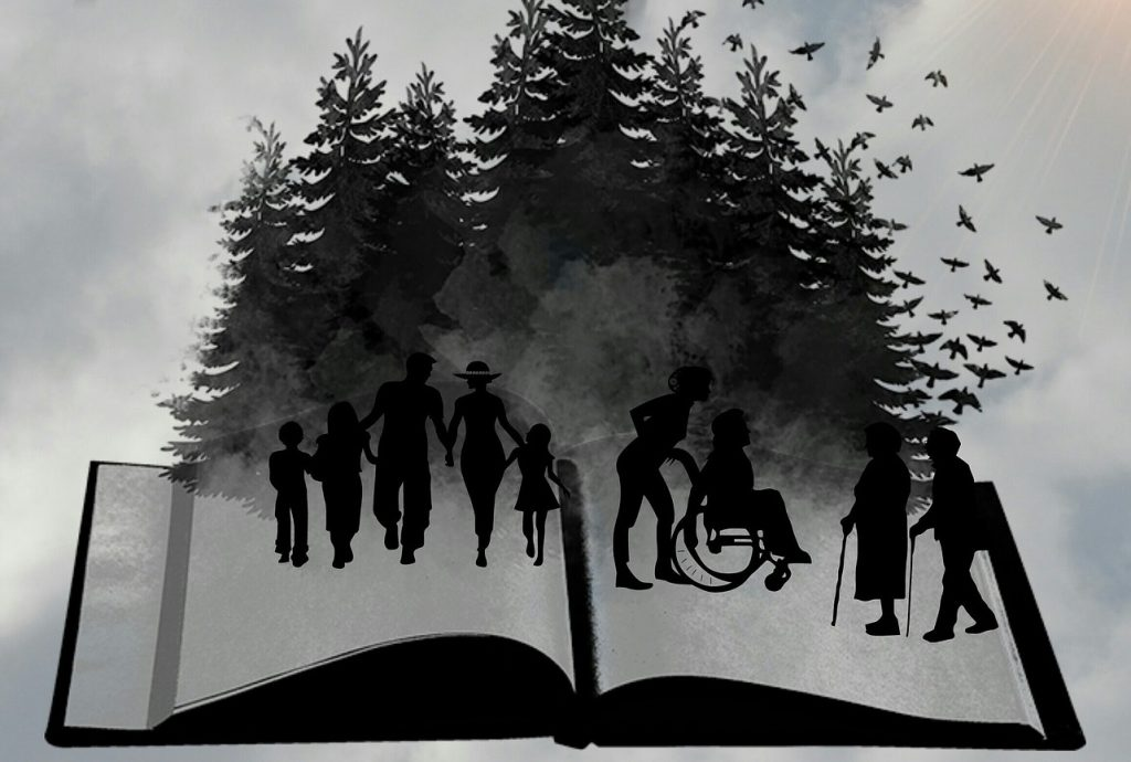 An illustration of an open book with silhouettes of people - young and old - across the blank pages. Behind them are shadows of trees and birds flying in the sky on the right.