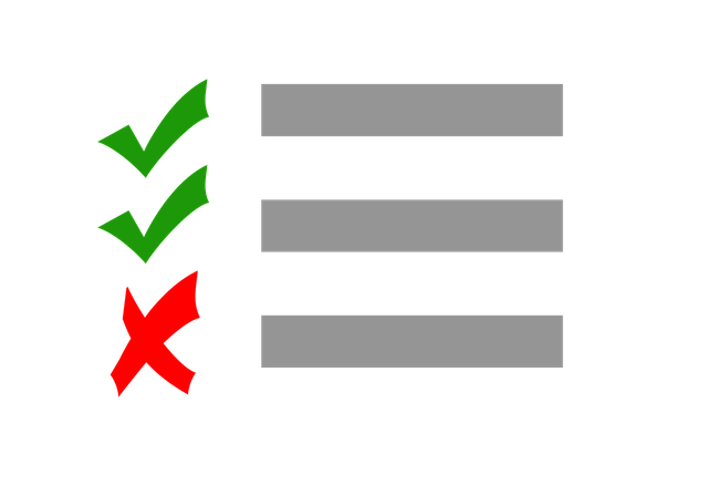 "Three gray lines, two with green checkmarks next to each, and a red ""x"" displayed next to the last one."