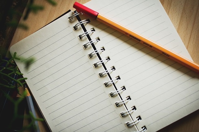 A open blank notebook with a pencil sitting on one side.