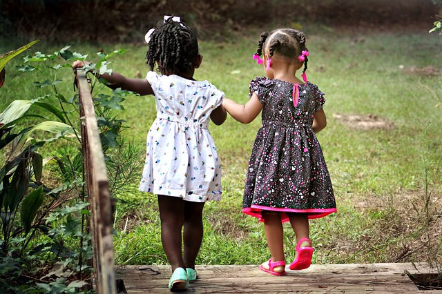 Two little girls photographed from behind, holding hands and walking across a wooden bridge.
