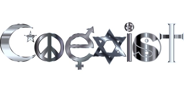 """""""Coexist"""" written using a variety of religious symbols."""