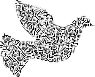 Peace dove with military weapons.