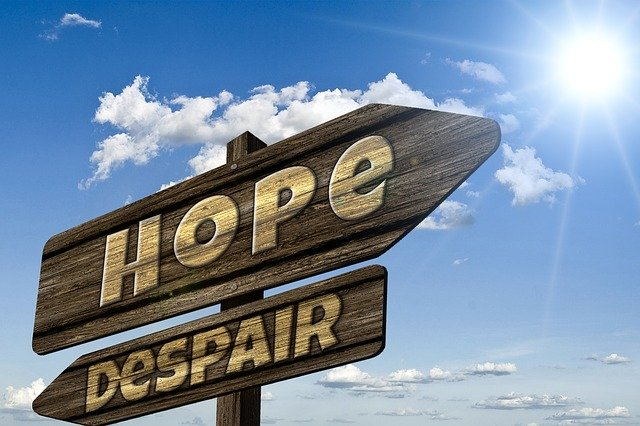 """Hope"" and ""Despair"" wooden signs, pointing in opposite directions."
