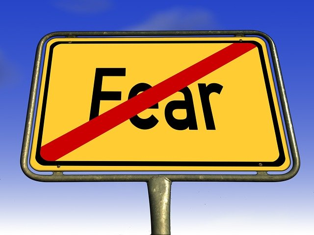 "Yellow ""Fear"" sign with a red line across it."